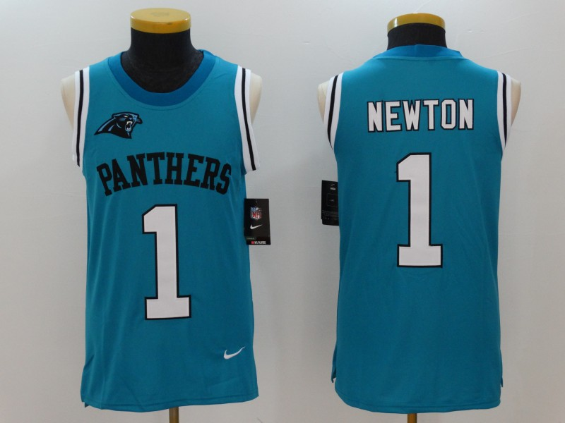 Nike Panthers 1 Cam Newton Blue Color Rush Men's Tank Top