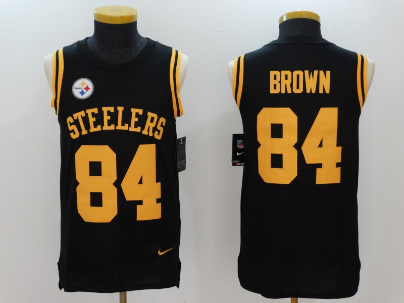 Nike Steelers 84 Antonio Brown Black Color Rush Men's Tank Top