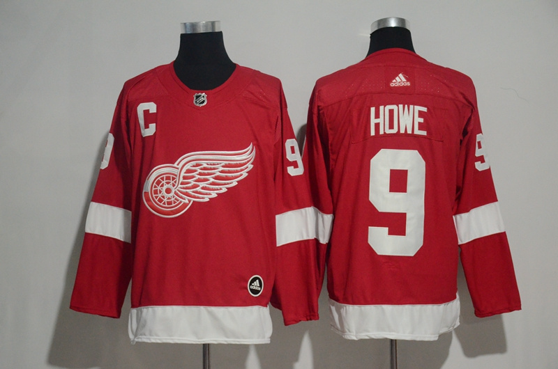 Red Wings 9 Gordie Howe Red Adidas Jersey