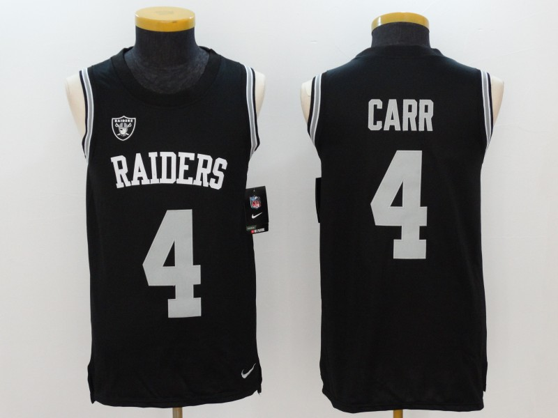 Nike Raiders 4 Derek Carr Black Color Rush Name & Number Tank Top