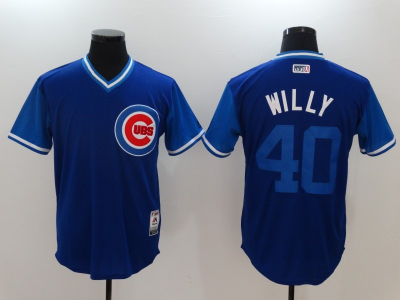 Cubs 40 Willson Contreras Willy Majestic Royal 2017 Players Weekend Jersey