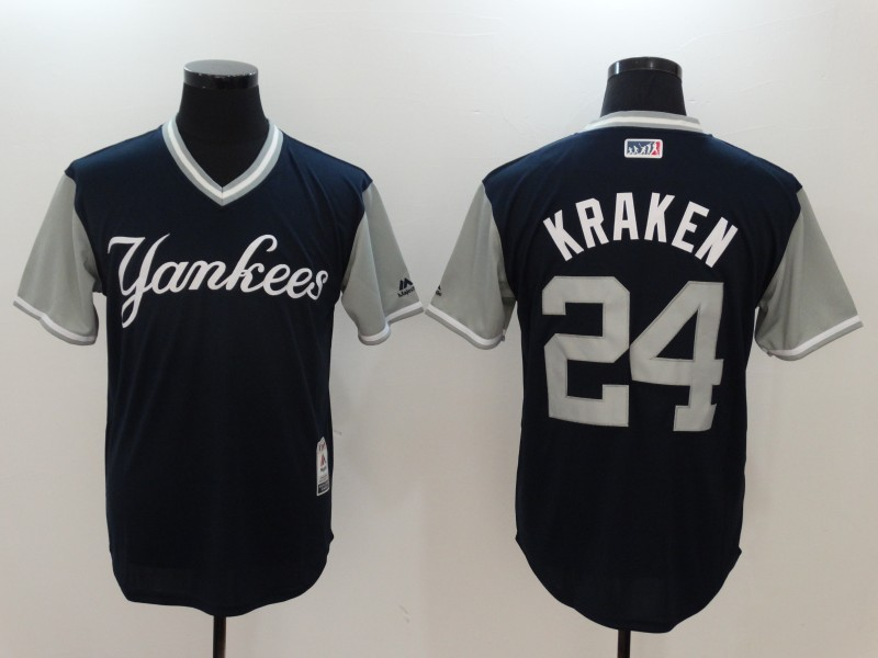 Yankees 24 Gary Sanchez Kraken Majestic Navy 2017 Players Weekend Jersey