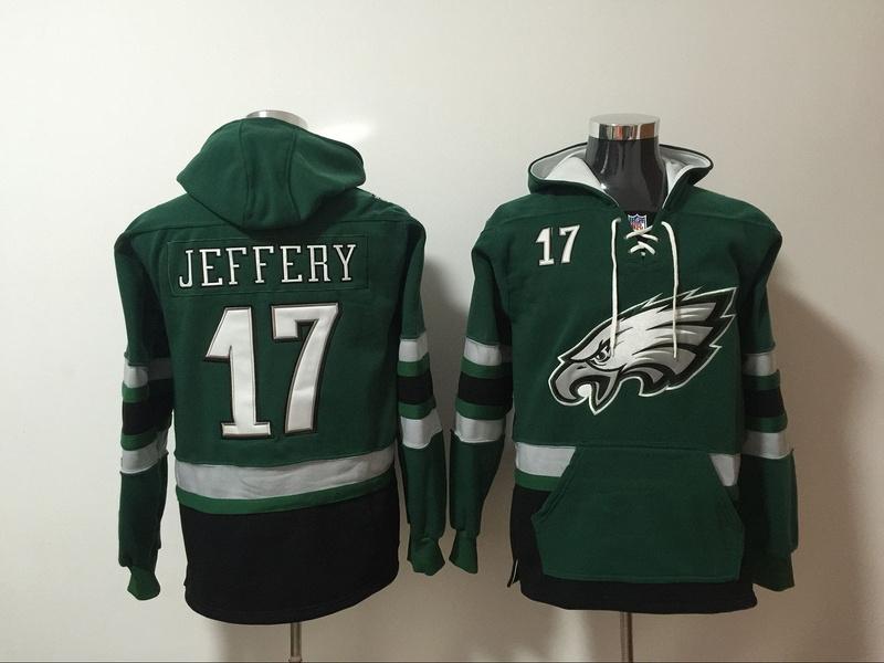 Philadelphia Eagles 17 Alshon Jeffery Green All Stitched Hooded Sweatshirt