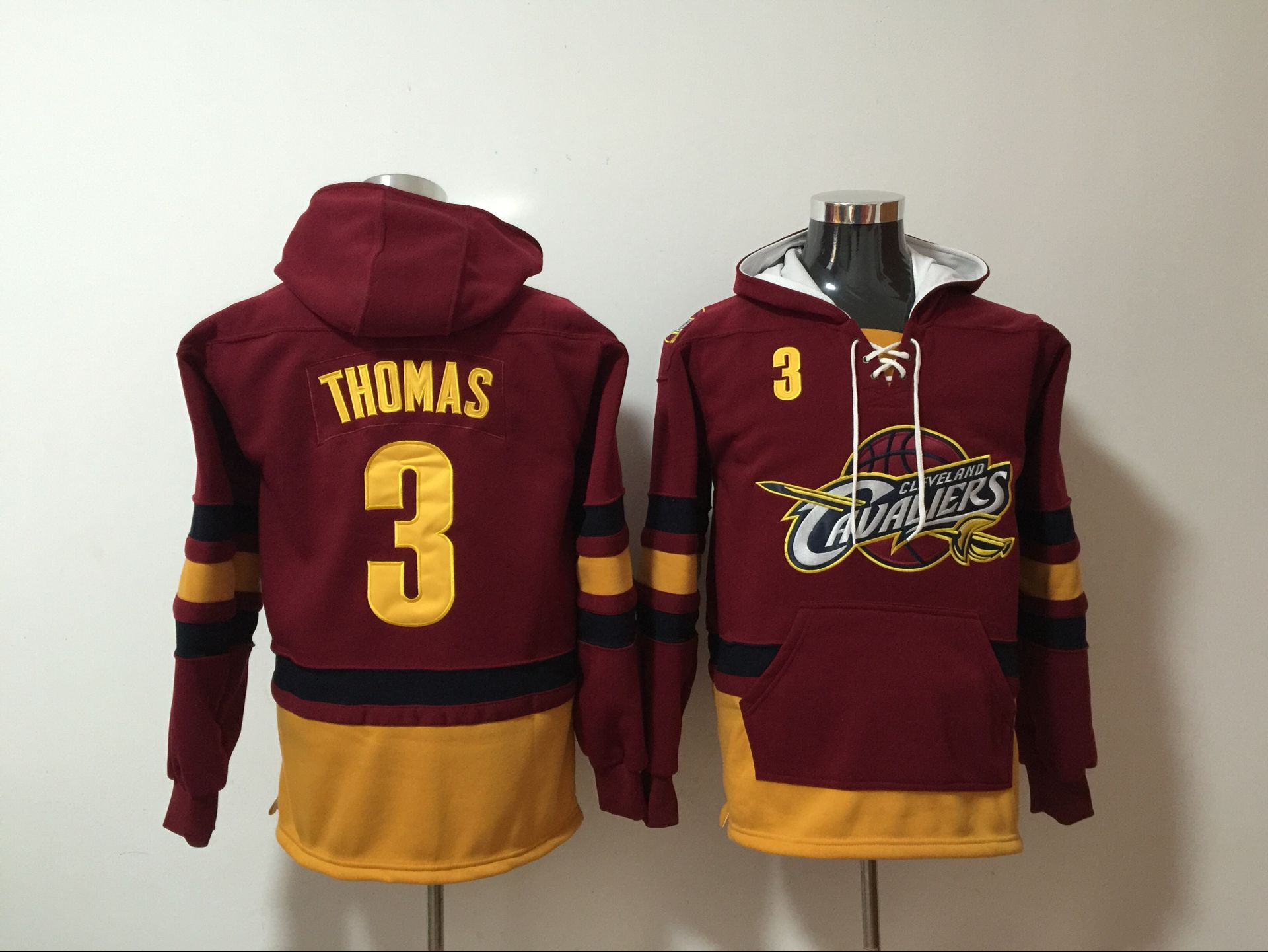 Cleveland Cavaliers 3 Isaiah Thomas Red All Stitched Hooded Sweatshirt