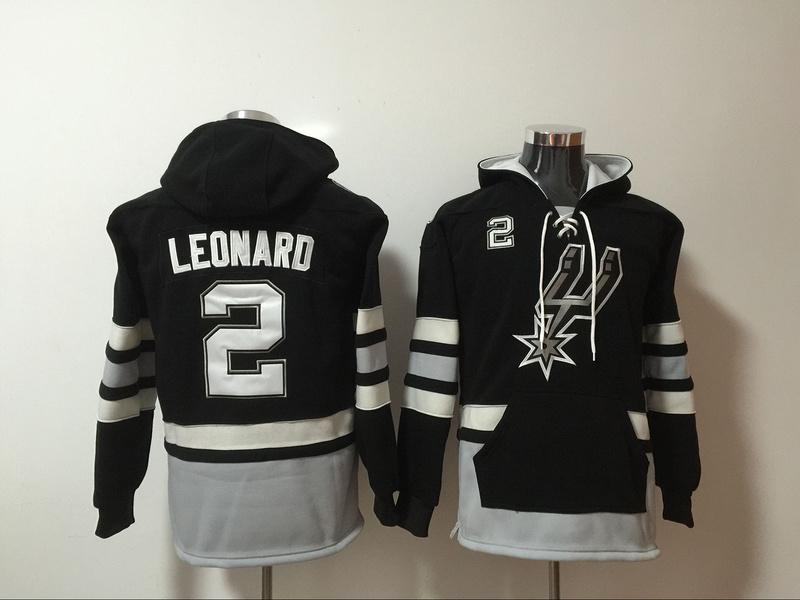 Spurs 2 Kawhi Leonard Black All Stitched Hooded Sweatshirt