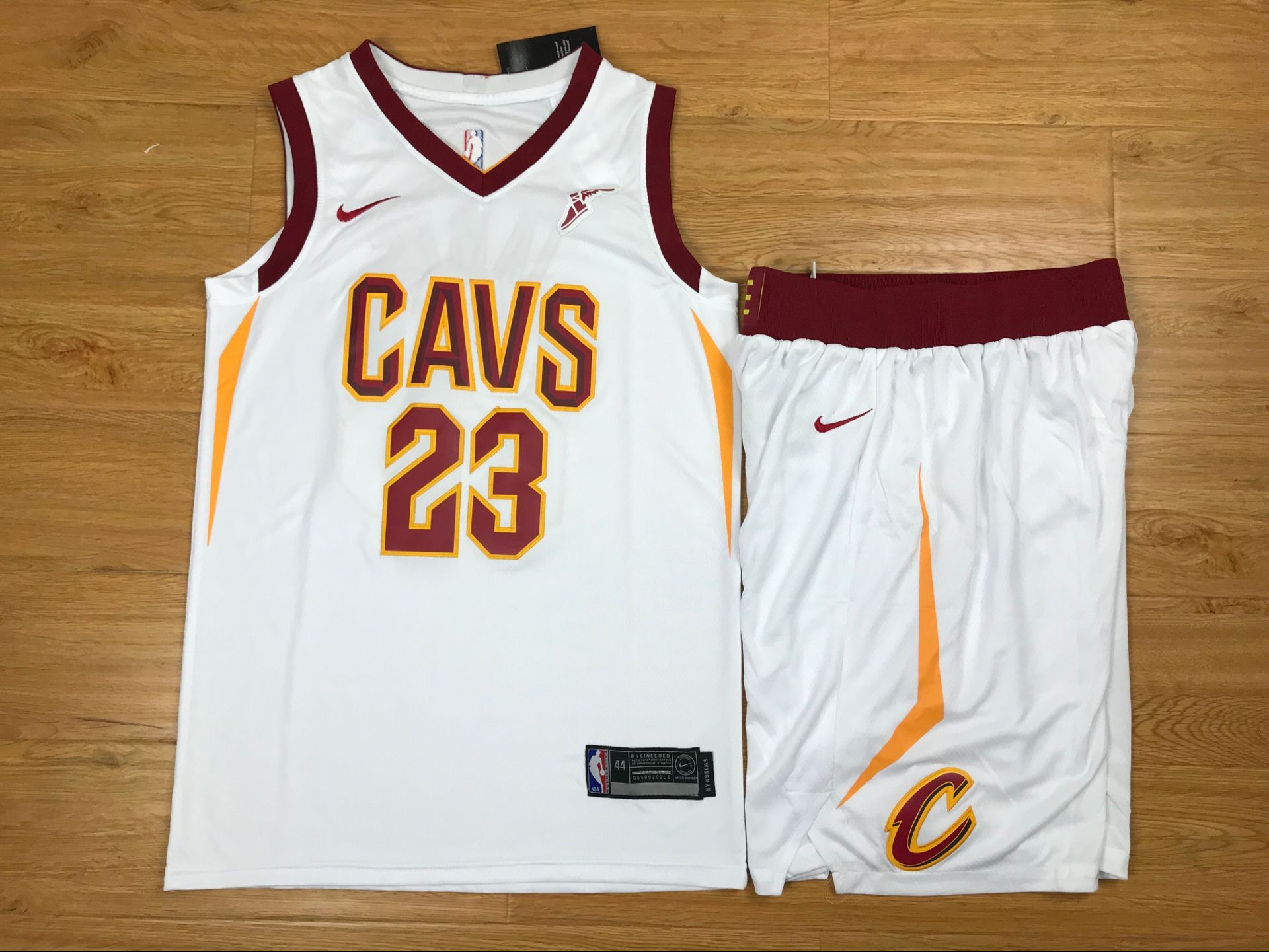 Cavaliers 23 Lebron James White Nike Swingman Jersey(With Shorts)