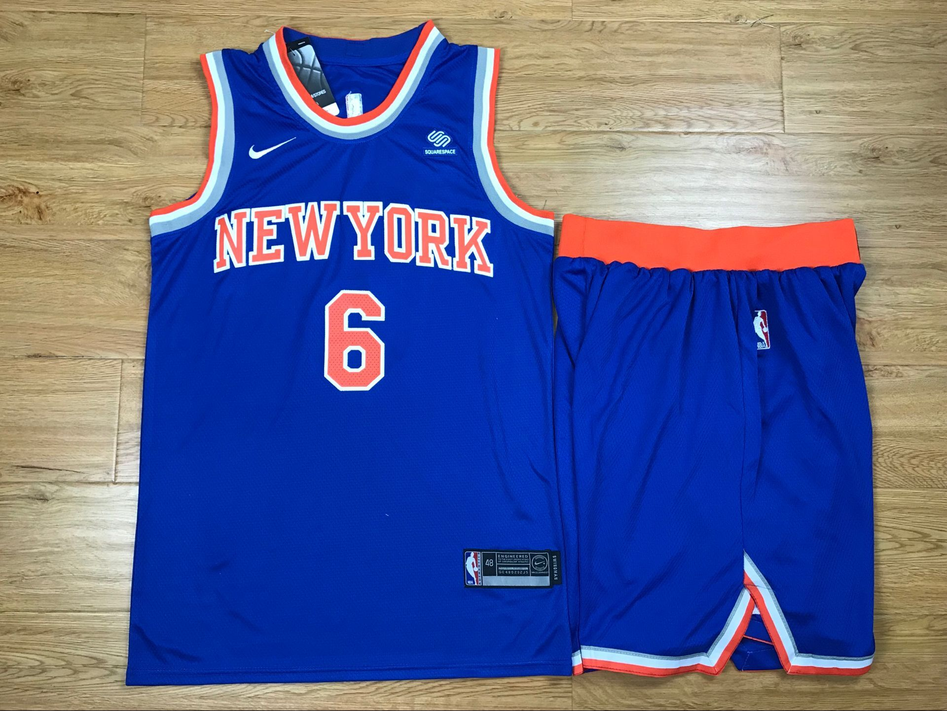 Knicks 6 Kristaps Porzingis Blue Nike Swingman Jersey(With Shorts)