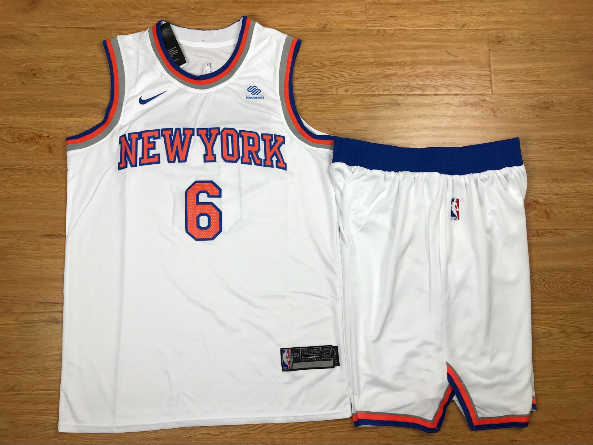 Knicks 6 Kristaps Porzingis White Nike Swingman Jersey(With Shorts)