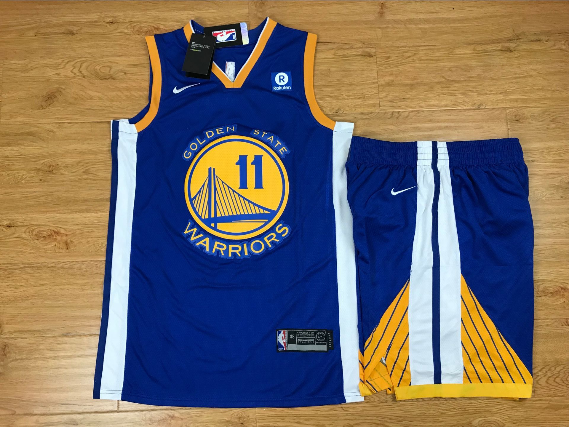 Warriors 11 Klay Thompson Blue Nike Swingman Jersey(With Shorts)