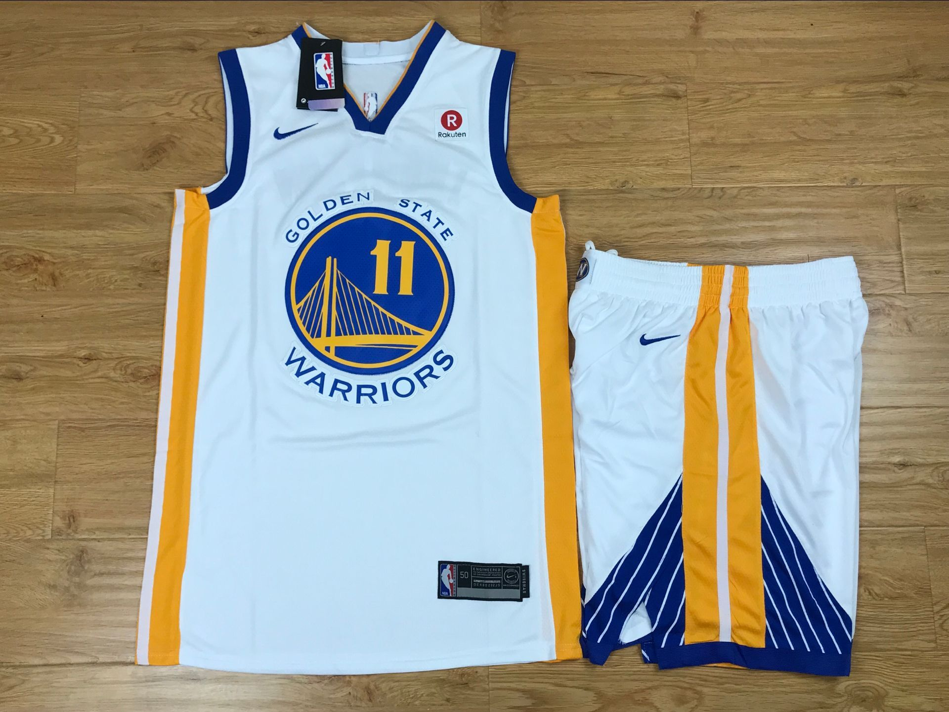 Warriors 11 Klay Thompson White Nike Swingman Jersey(With Shorts)
