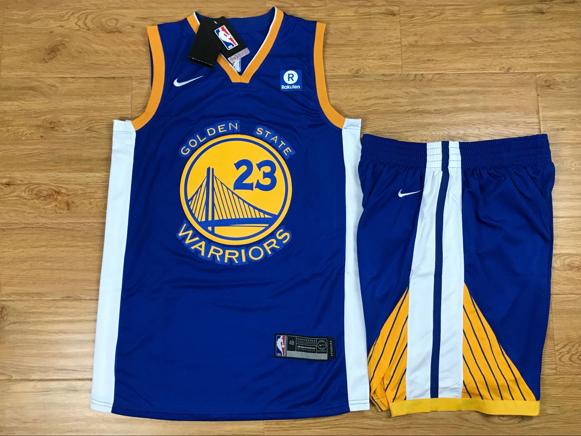 Warriors 23 Draymond Green Blue Nike Swingman Jersey(With Shorts)