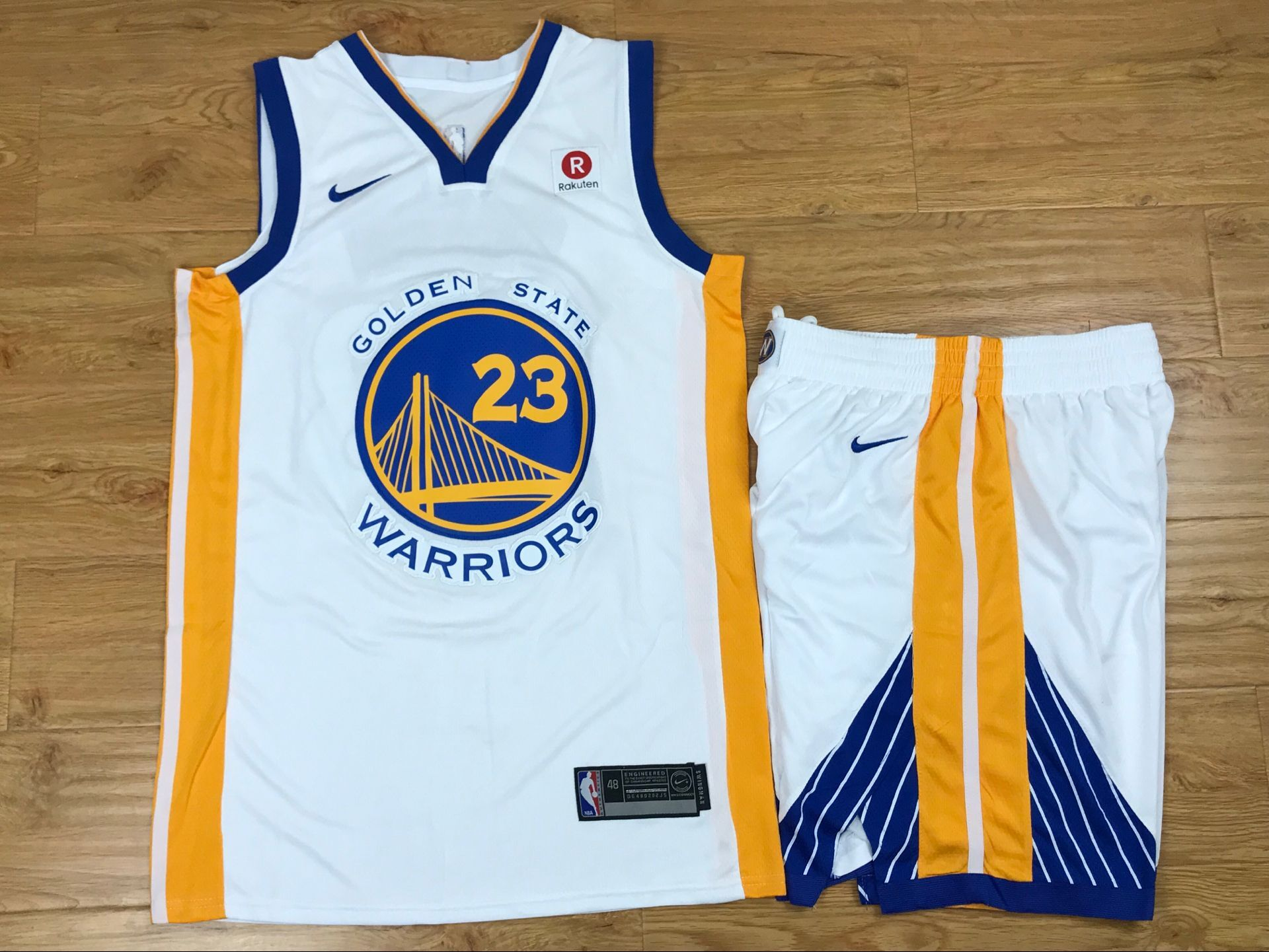 Warriors 23 Draymond Green White Nike Swingman Jersey(With Shorts)