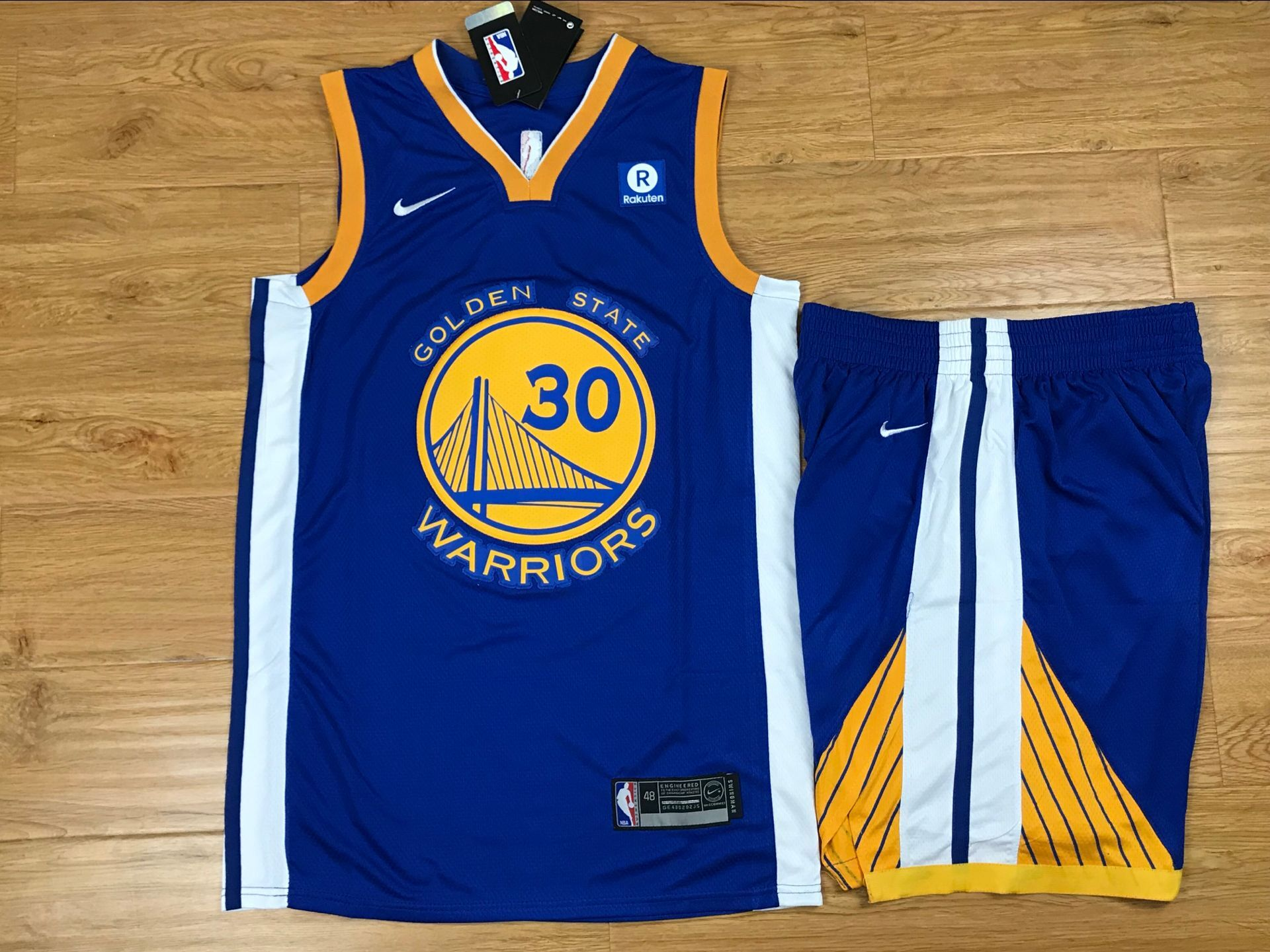 Warriors 30 Stephen Curry Blue Nike Swingman Jersey(With Shorts)