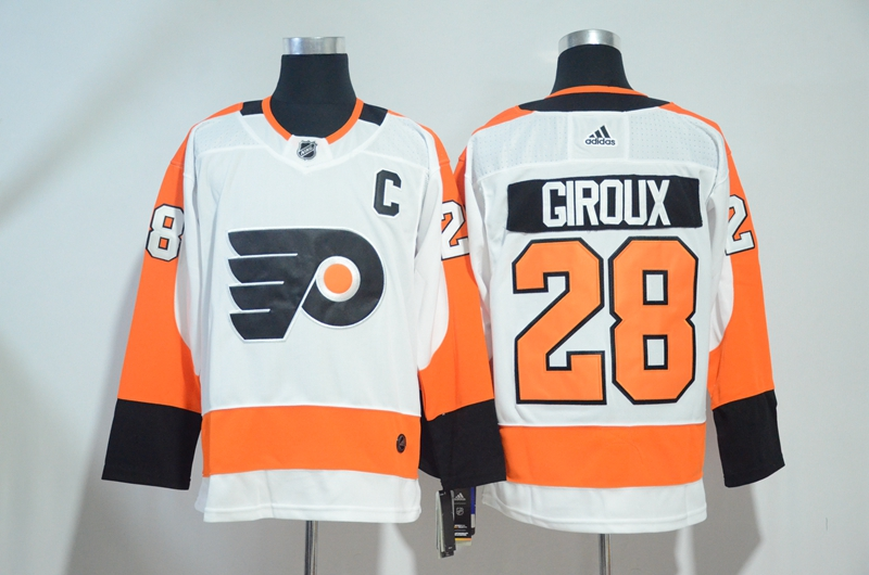 Flyers 28 Claude Giroux White Adidas Jersey