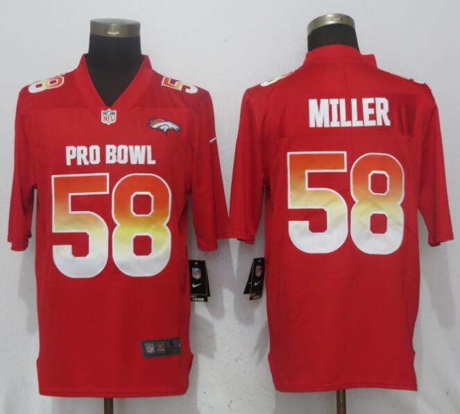 Nike AFC Broncos 58 Von Miller Red 2018 Pro Bowl Game Jersey