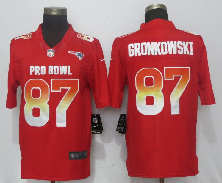 Nike AFC Patriots 87 Rob Gronkowski Red 2018 Pro Bowl Limited Jersey