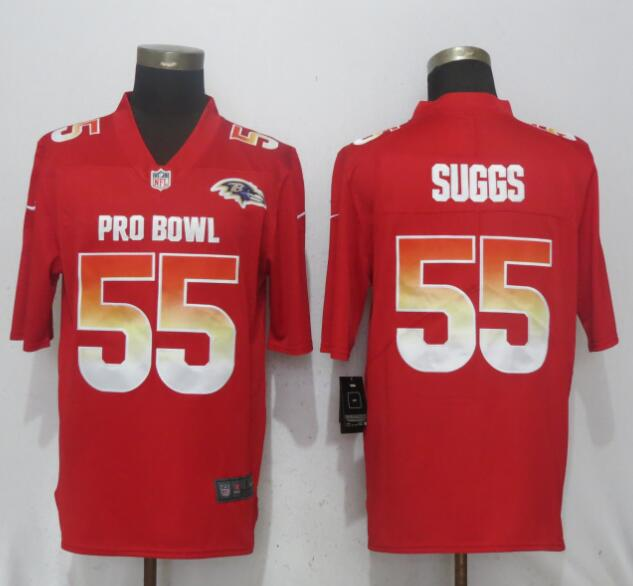 Nike AFC Ravens 55 Terrell Suggs Red 2018 Pro Bowl Game Jersey