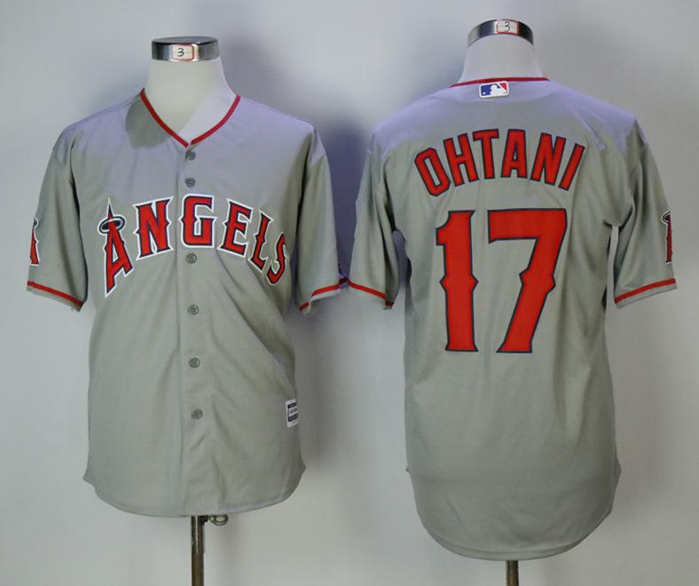 Angels 17 Shohei Ohtani Gray Cool Base Jersey