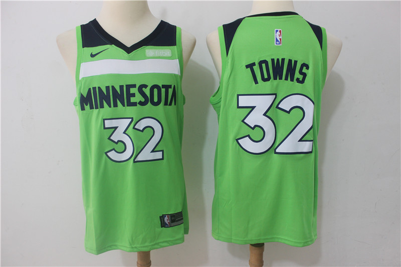 Timberwolves 32 Karl-Anthony Towns Green Nike Swingman Jersey