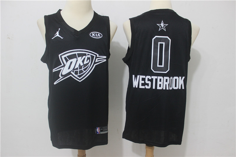Thunder 0 Russell Westbrook Black 2018 All-Star Game Swingman Jersey