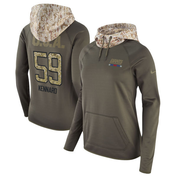 Nike Giants 59 Devon Kennard Olive Women Salute To Service Pullover Hoodie