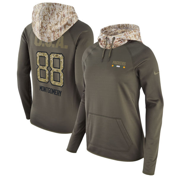 Nike Packers 88 Ty Montgomery Olive Women Salute To Service Pullover Hoodie