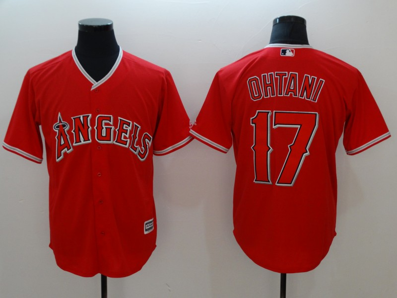 Angels 17 Shohei Ohtani Red Cool Base Jersey