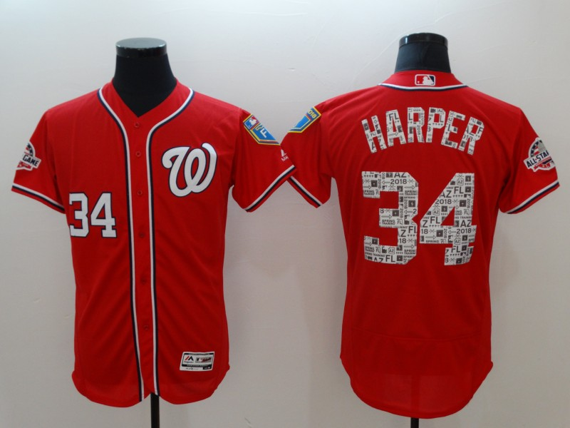 Nationals 34 Bryce Harper Red 2018 Spring Training Flexbase Jersey