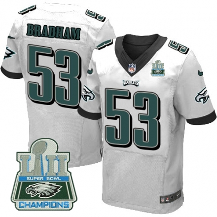 Nike Eagles 53 Nigel Bradham White 2018 Super Bowl Champions Elite Jersey