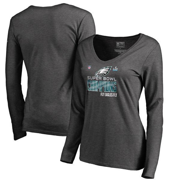Women's Philadelphia Eagles NFL Pro Line by Fanatics Branded Heather Charcoal Super Bowl LII Champions Long Sleeve V Neck T Shirt