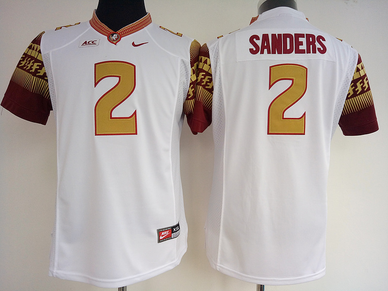 Florida State Seminoles 2 Deion Sanders White College Football Jersey