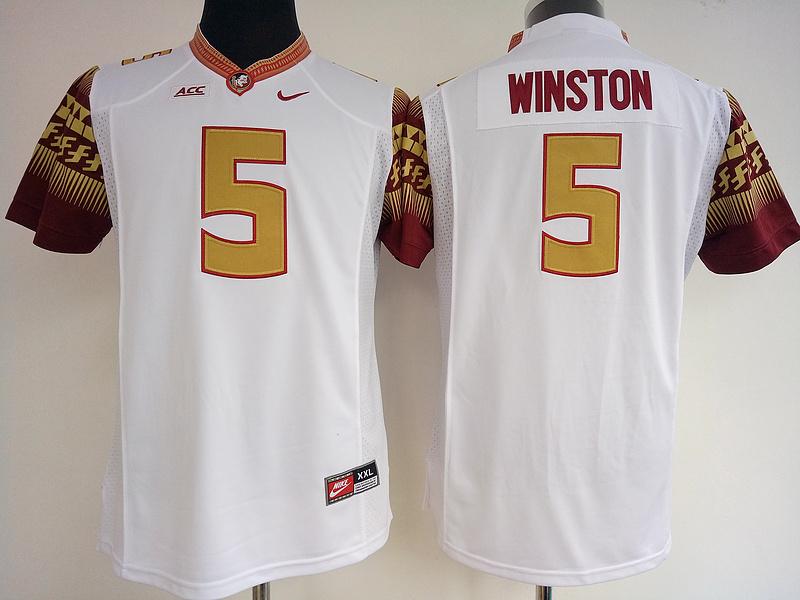 Florida State Seminoles 5 Jameis Winston White College Football Jersey
