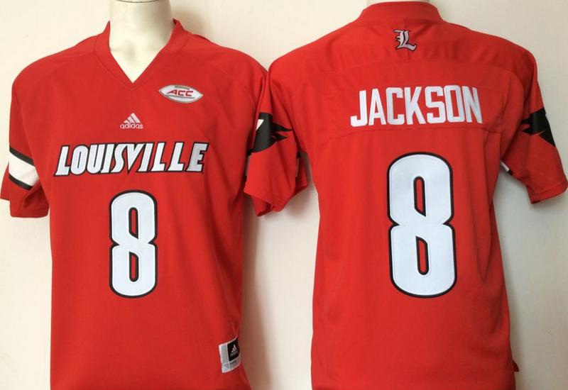Louisville Cardinals 8 Lamar Jackson Red College Football Jersey