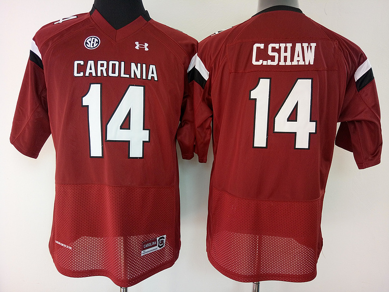 South Carolina Gamecocks 14 C.Shaw Red College Football Jersey