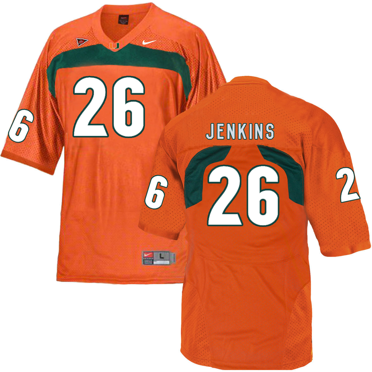 Miami Hurricanes 26 Rayshawn Jenkins Orange College Football Jersey