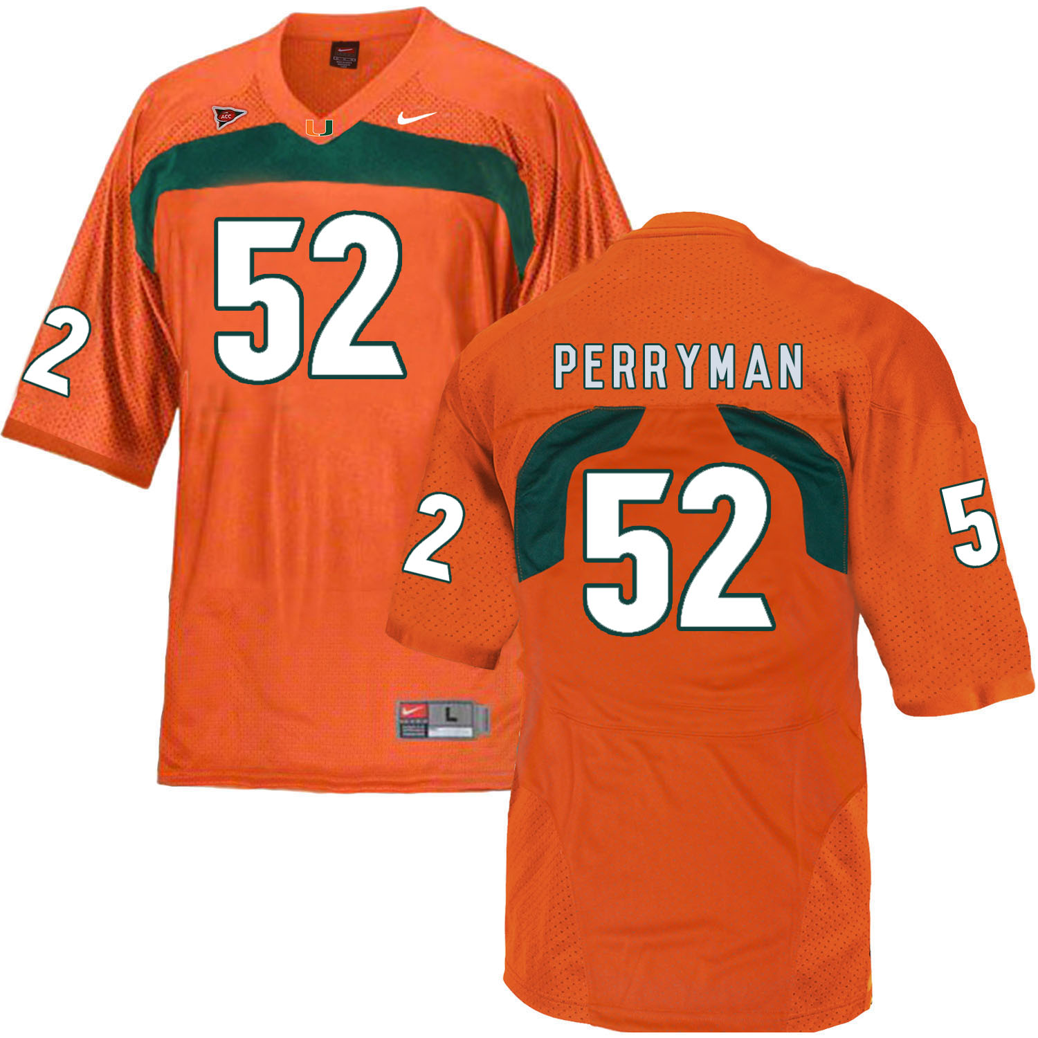 Miami Hurricanes 52 Denzel Perryman Orange College Football Jersey