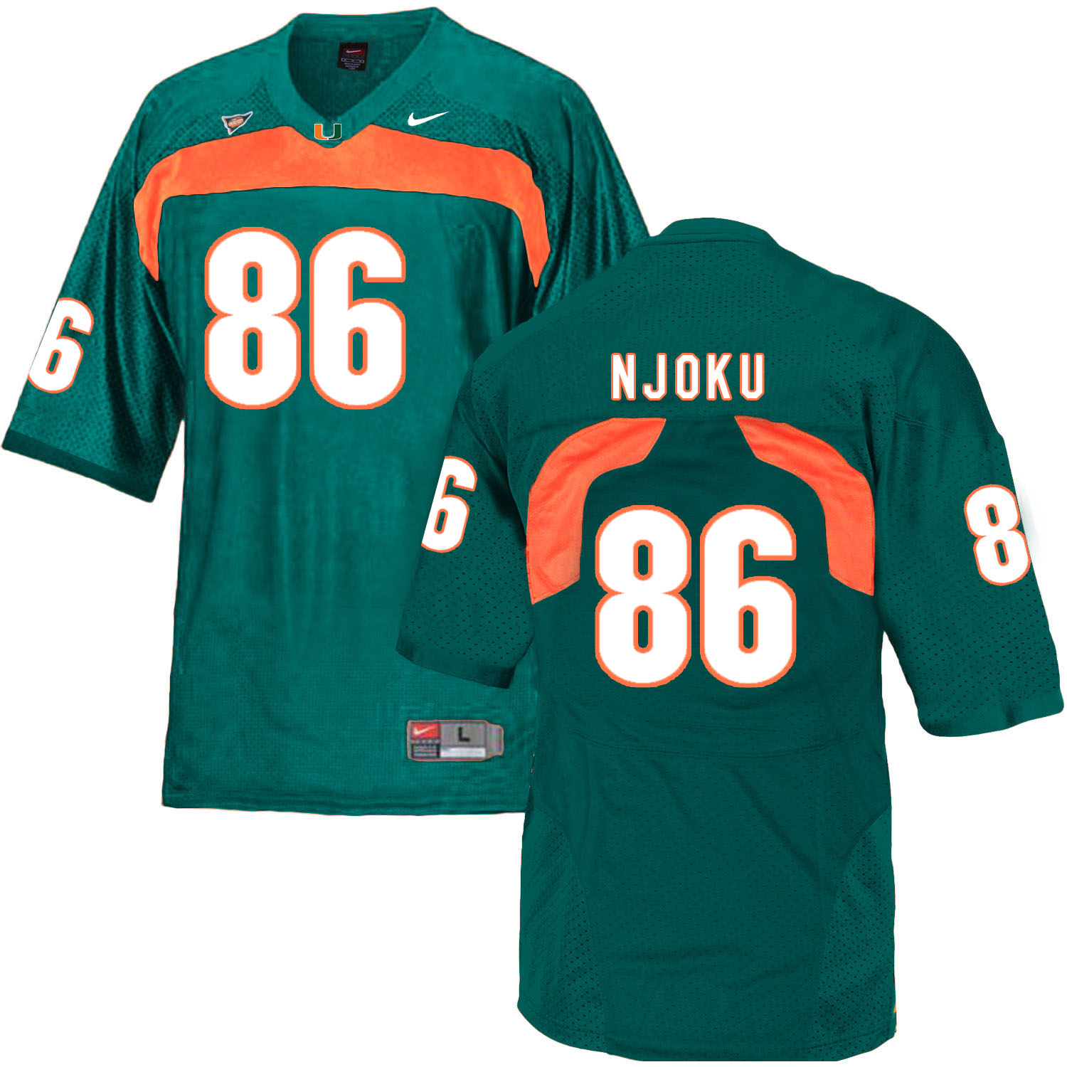 Miami Hurricanes 86 David Njoku Green College Football Jersey
