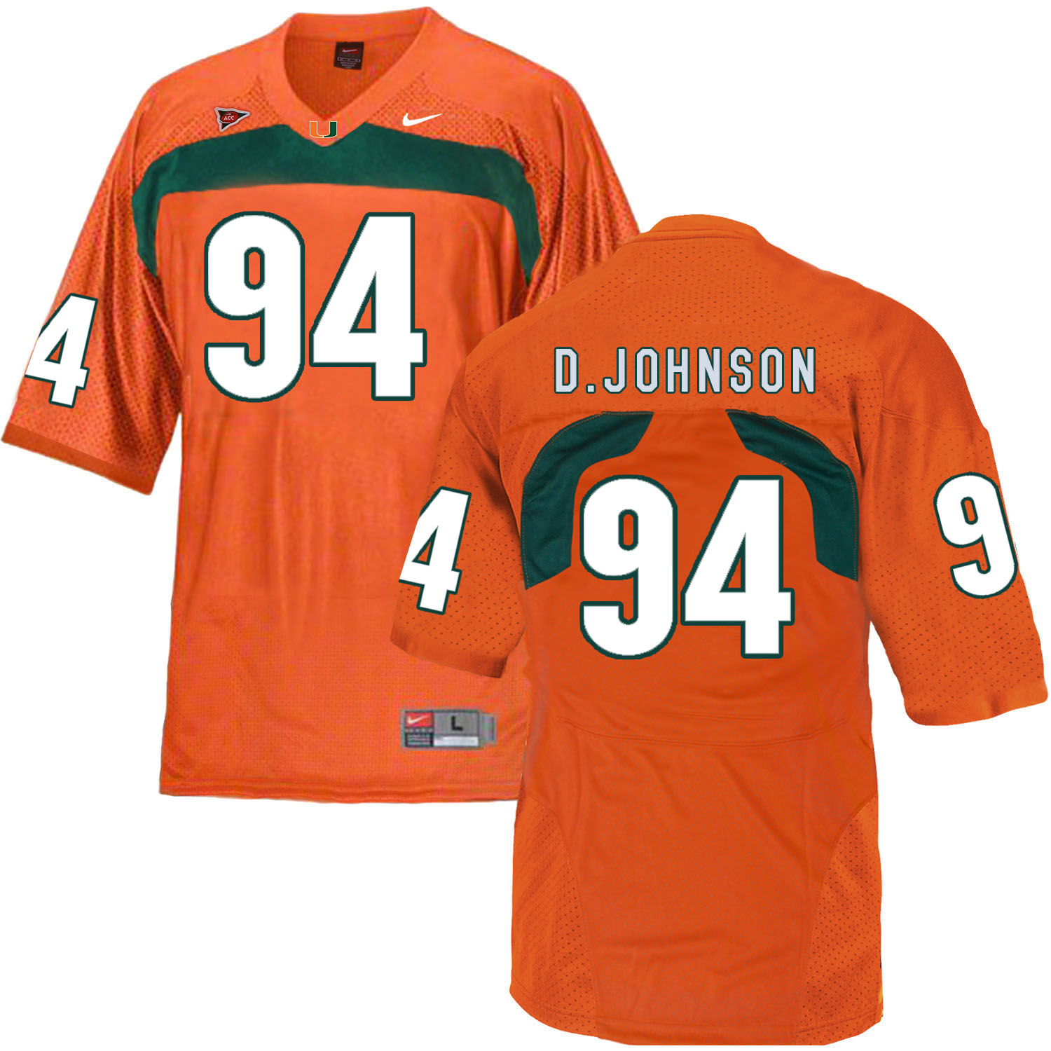 Miami Hurricanes 94 Dwayne Johnson Orange College Football Jersey
