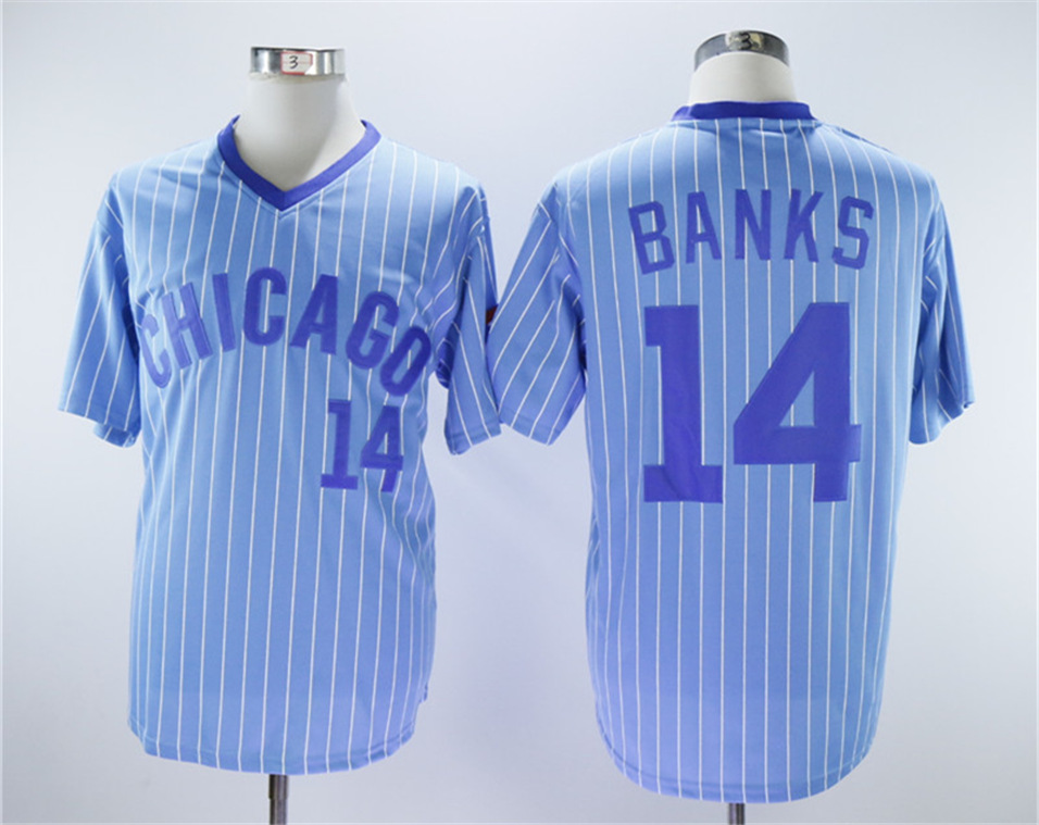 Cubs 14 Ernie Banks Light Blue Turn Back The Clock Jersey