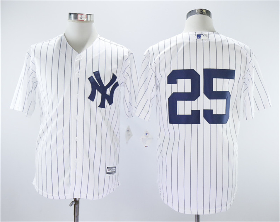 Yankees 25 Gleyber Torres White Cool Base Jersey