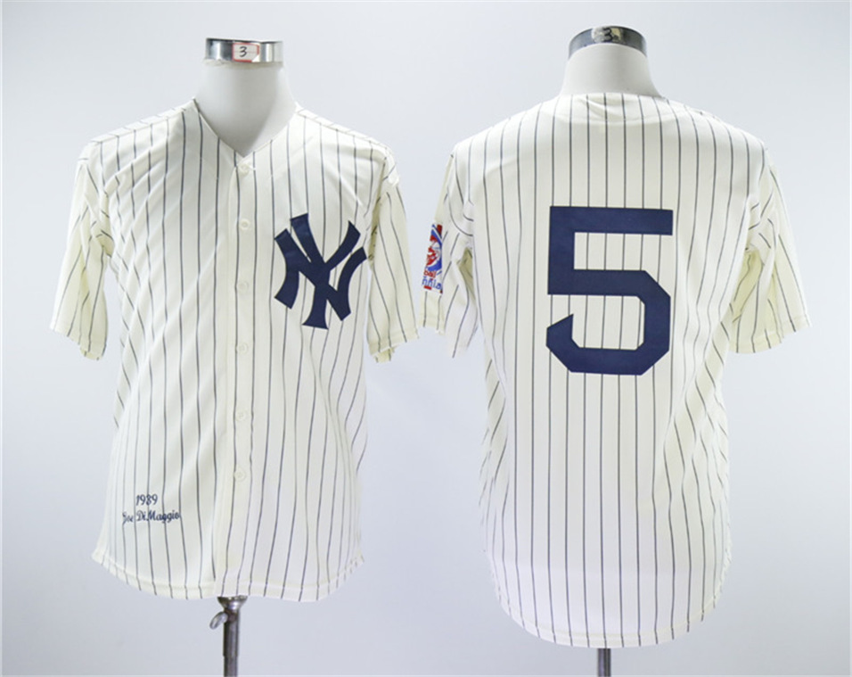 Yankees 5 Joe Dimaggio Cream 1939 Throwback Jersey