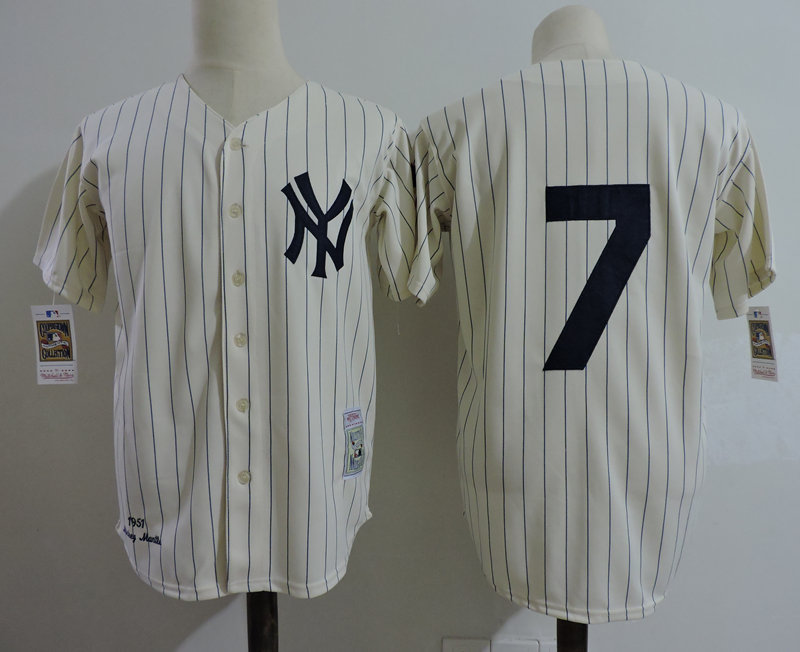 Yankees 7 Yoji Berra Cream 1951 Throwback Jersey