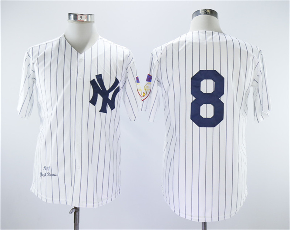 Yankees 8 Yogi Berra White 1951 Throwback Jersey