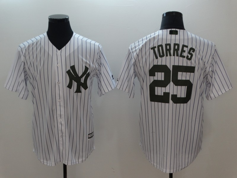 Yankees 25 Gleyber Torres White 2018 Memorial Day Cool Base Jersey