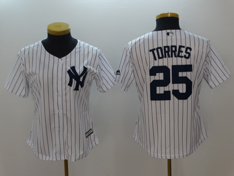 Yankees 25 Gleyber Torres White Women Cool Base Jersey