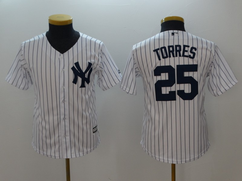 Yankees 25 Gleyber Torres White Youth Cool Base Jersey
