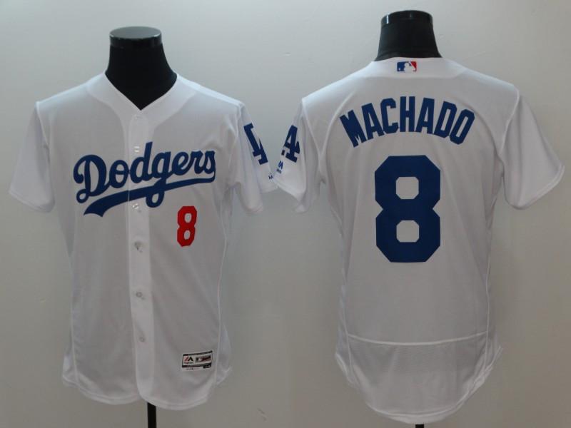 Dodgers 8 Manny Machado White Flexbase Jersey
