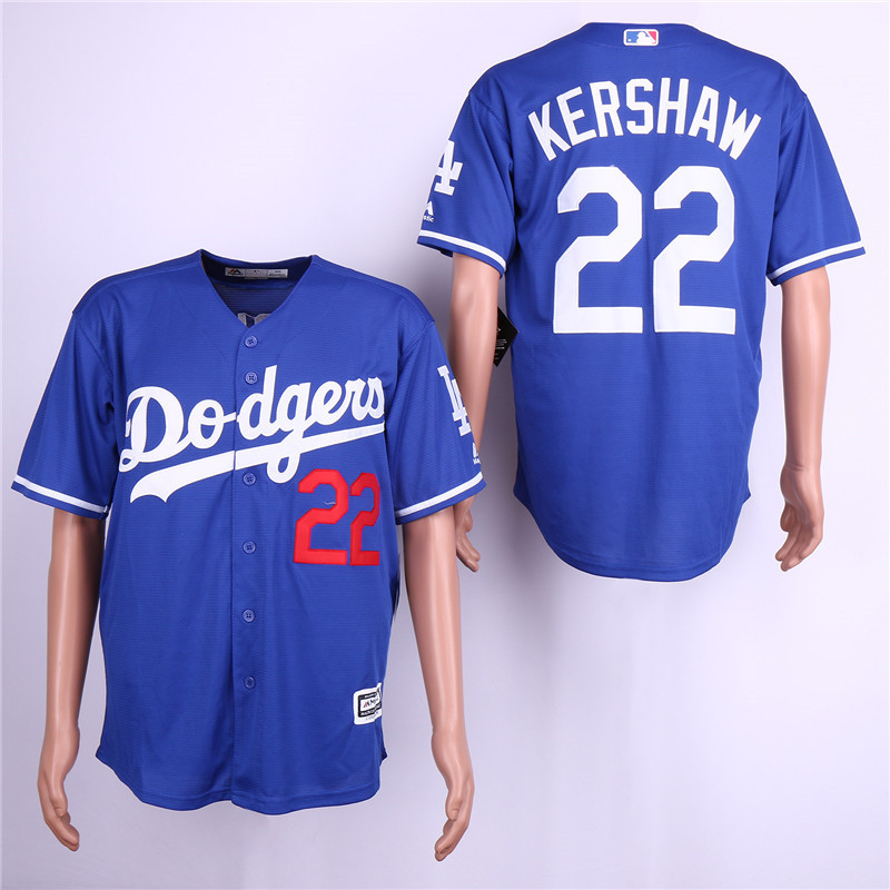 Dodgers 22 Clayton Kershaw Royal Cool Base Jersey