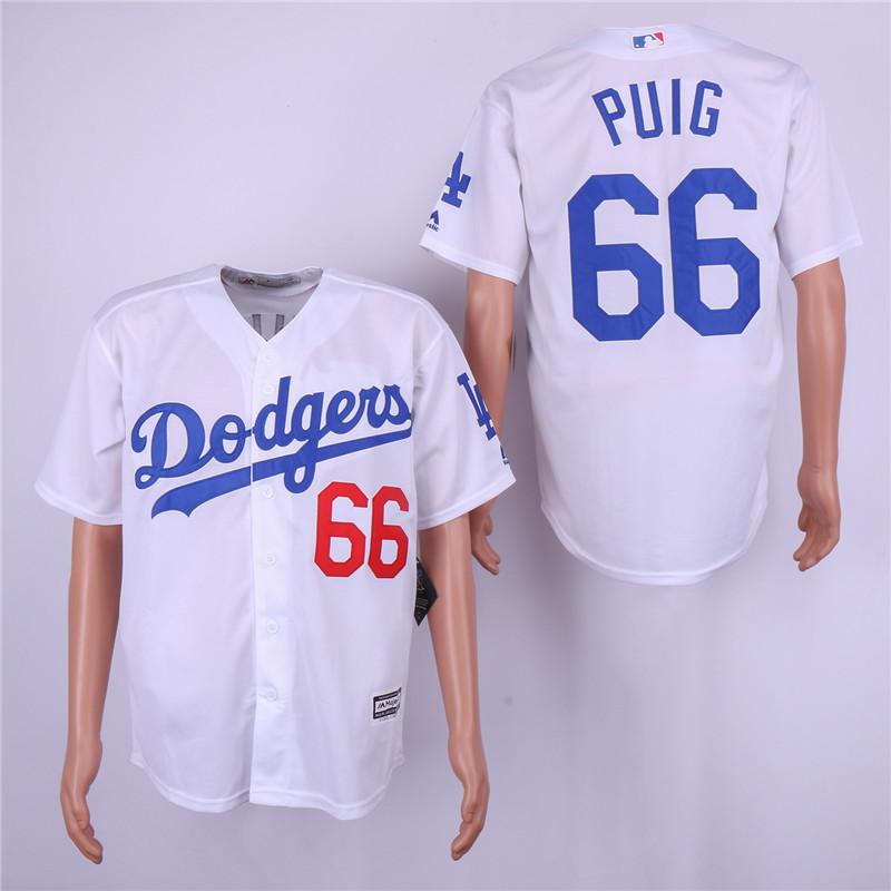 Dodgers 66 Yasiel Puig White Cool Base Jersey