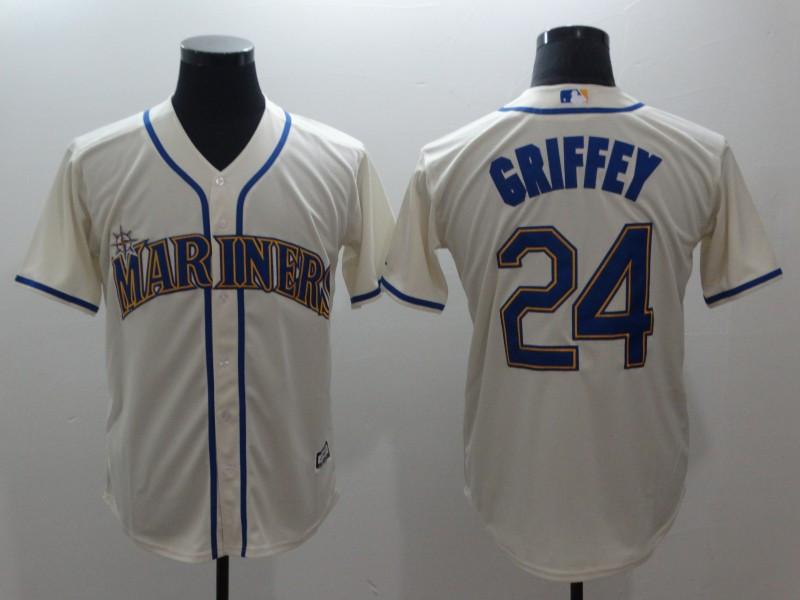Mariners 24 Ken Griffey Jr. Cream Cool Base Jersey